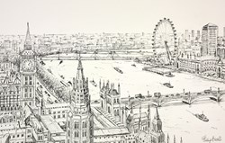 The Thames and Westminster by Phillip Bissell - Original Drawing on Mounted Paper sized 17x11 inches. Available from Whitewall Galleries