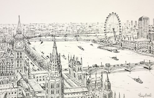 The Thames and Westminster by Phillip Bissell - Original Drawing on Mounted Paper